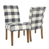 HomePop Parsons Plaid Blue Dining Chairs (Set of 2)