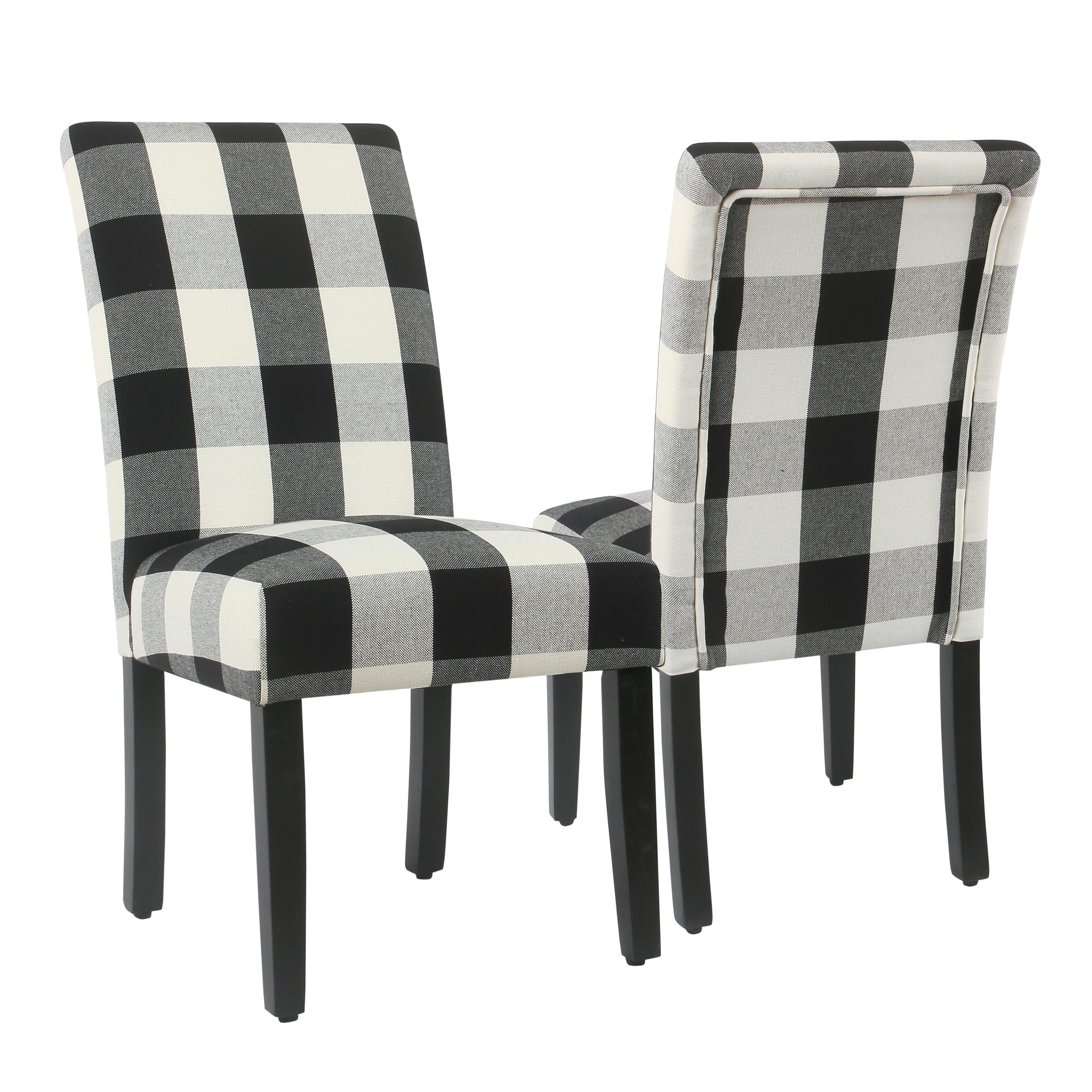 Homepop Parsons Dining Chair Black Plaid Set Of 2