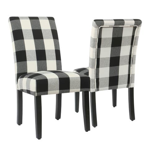 HomePop Black Plaid Parsons Dining Chair (Set of 2)