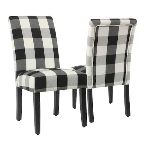 HomePop Parsons Dining Chair - Black Plaid (set of 2)