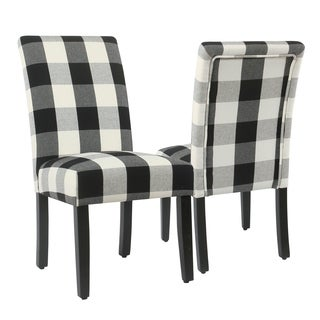 HomePop Parsons Dining Chair   Black Plaid (set Of 2)
