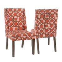 HomePop Dinah Modern Dining Chair - Persimmon Lattice (set of 2)