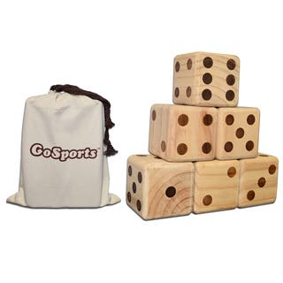 "GoSports Giant 3.5"" Wooden Dice Set with Bonus Rollzee Scoreboard Includes 6 Dice, Dry-Erase Scoreboard and Canvas Carrying Bag