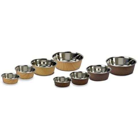 OurPets DuraPet WoodGrain Light/Dark Brown Bowls