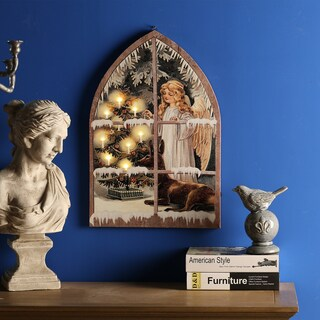 Angel in Window Canvas Print LED Light
