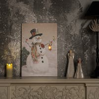 Country Snowman Canvas Print with LED Lights