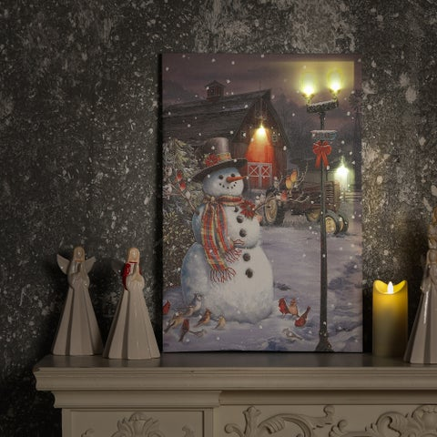 Town Snowman Canvas Print with LED Lights