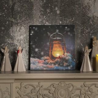 Lantern Canvas Print with LED Lights - Blue/Orange/White