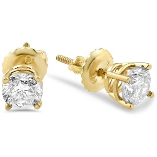 Bliss 14k Yellow Gold 5/8 ct TDW Screw Back Diamond Studs - White