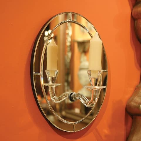 Allan Andrews Oval Mirror w/ Candle Holder - mirrored