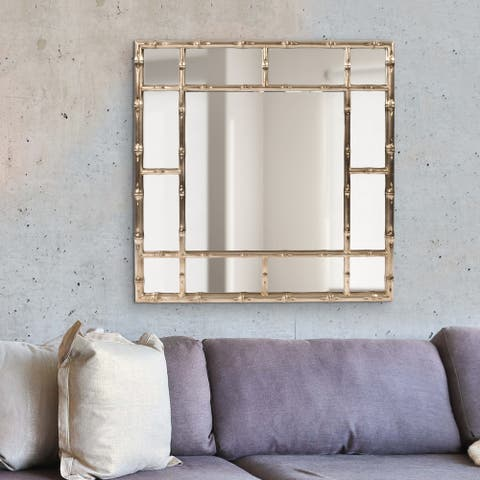 Allan Andrews Bamboo Country Silver Square Wall Mirror