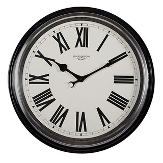 "Offex Home 19"" Traditional Metal Roman Numeral Wall Clock in Black"