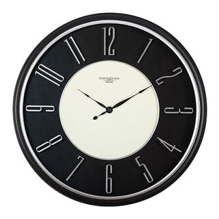 "Offex Home 29"" Modern Raised Numeral Wall Clock in Black"