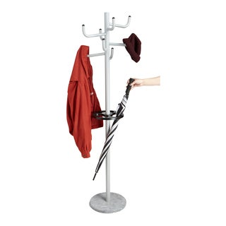Mind Reader Free Standing 8 Hook Metal Coat and Hat Rack with Umbrella Stand, Silver
