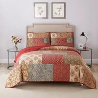 Wonder Home Priscilla 3PC Cotton Printed Quilt Set
