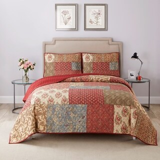 Wonder Home Priscilla 3PC Cotton Printed Quilt Set