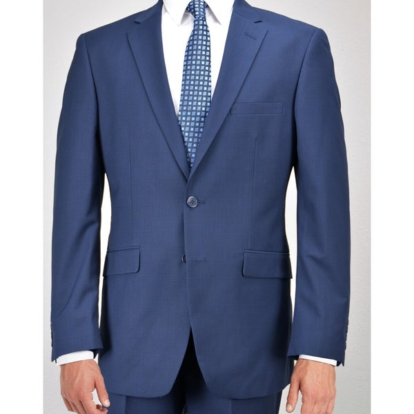 Carlo Studio Navy Blue Plaid Suit - Free Shipping Today ...