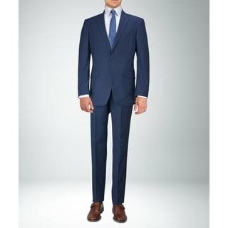 Carlo Studio Navy Blue Plaid Suit