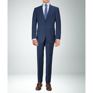 Carlo Studio Navy Blue Plaid Suit