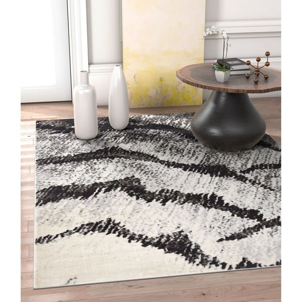 "Well Woven Allegro Grey Abstract Area Rug - 7'10"" x 10'6""/7'10 x 10'6"