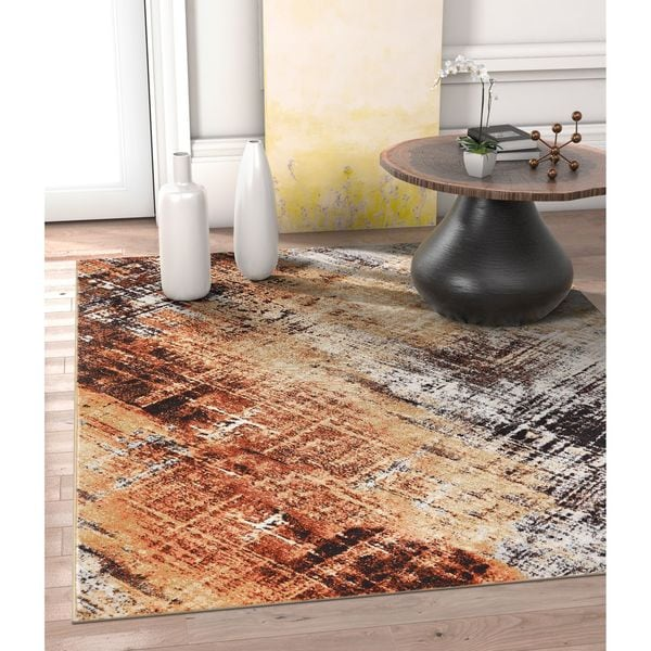 Well Woven Allegro Modern Distressed Copper Area Rug - 7'10 x 10'6