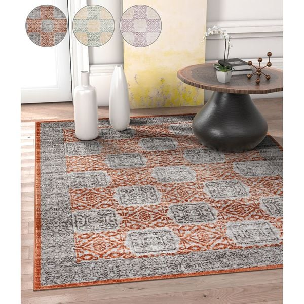 Well Woven Allegro Modern Copper/Lavender/Blue Area Rug - 7'10 x 10'6