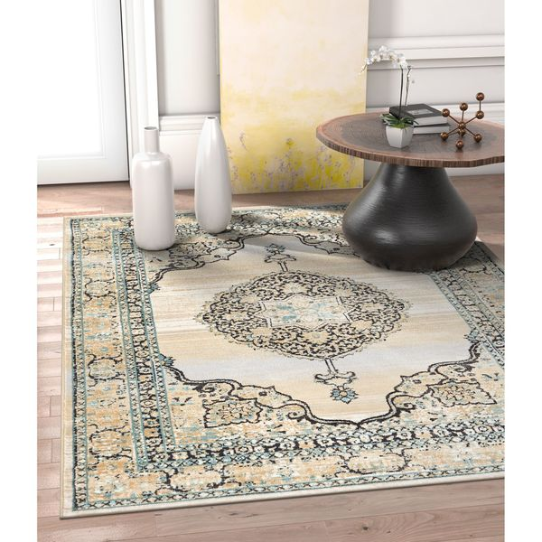 Well Woven Allegro Traditional Persian Light Blue/Beige/Charcoal Area Rug - 7'10 x 10'6