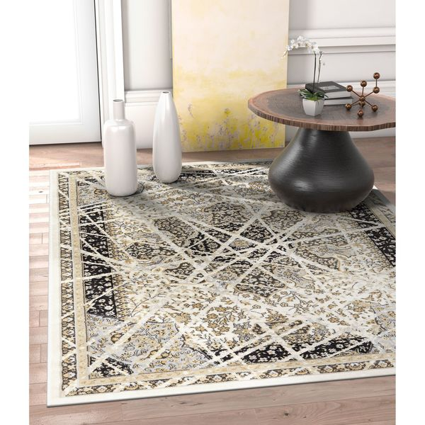 "Well Woven Allegro Charcoal, Ivory, and Light Grey Vintage Area Rug - 7'10"" x 10'6""/7'10 x 10'6"