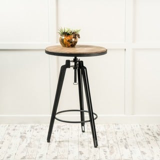 Isla Rustic Wood Round Swivel Bar Table by Christopher Knight Home (As Is Item)