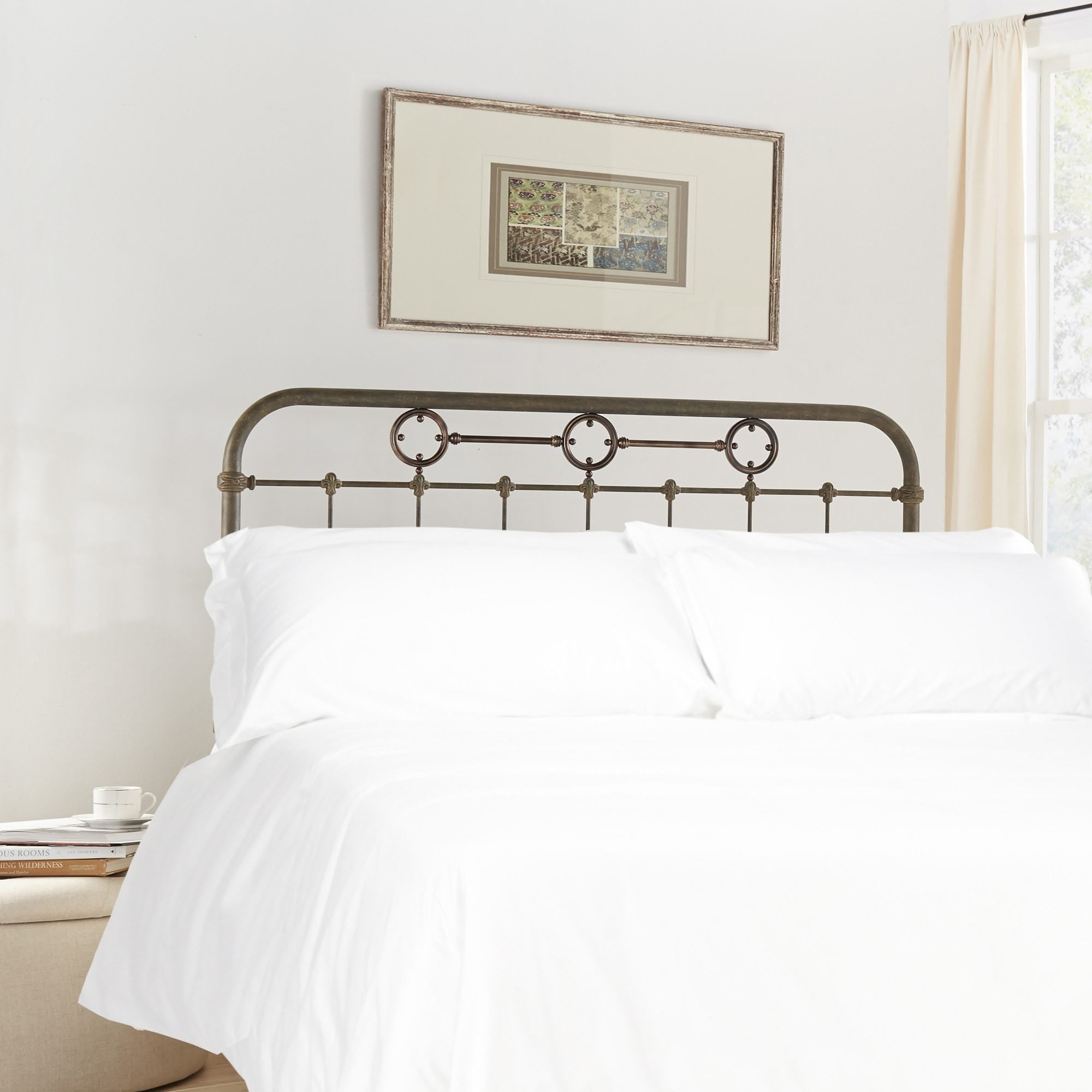 Fashion Bed Group Madera Metal Headboard Panel with Brass...