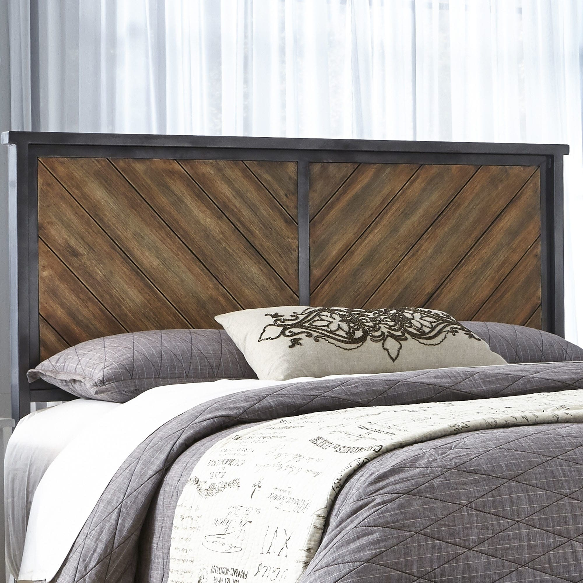 Fashion Bed Group Braden Metal Headboard with Reclaimed W...