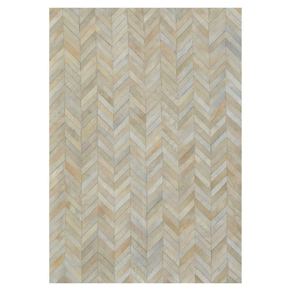Kavka Designs Hand Stitched Patchwork Ivory Stripes Cowhide Rug - 8' x10'