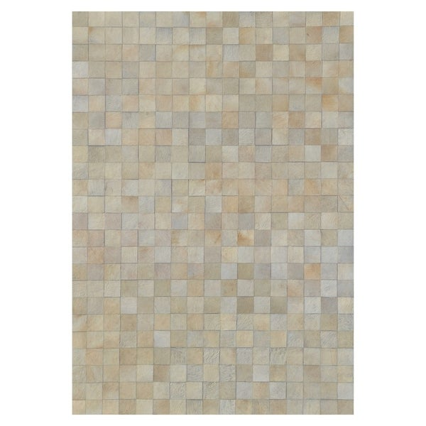 Kavka Designs Hand Stitched Patchwork Ivory Blocks Cowhide Rug (8' x 10') - 8' x 10'