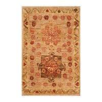 Handmade Herat Oriental Afghan Hand-knotted Vegetable Dye Wool Rug (1'4 x 2'1) - XS