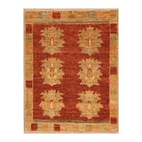 Handmade Herat Oriental Afghan Hand-knotted Vegetable Dye Wool Rug (1'6 x 1'10)
