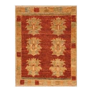 Handmade Herat Oriental Afghan Hand-knotted Vegetable Dye Wool Rug - XS