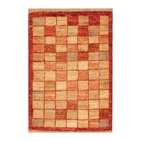 Handmade Herat Oriental Afghan Hand-knotted Vegetable Dye Wool Rug (1'4 x 2') - XS/1'4 x 2'