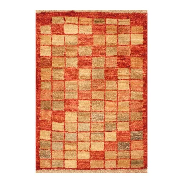 Handmade Herat Oriental Afghan Hand-knotted Vegetable Dye Wool Rug - 1'4 x 2'