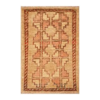 Handmade Herat Oriental Afghan Hand-knotted Vegetable Dye Wool Rug (1'6 x 2'1)