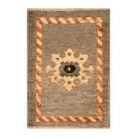 Handmade Herat Oriental Afghan Hand-knotted Vegetable Dye Wool Rug (1'6 x 2')