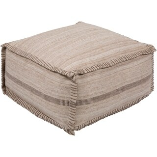 "Camellia Traditional Textured Ivory 13"" Pouf"