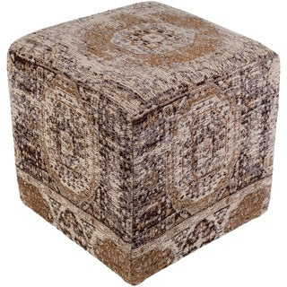 """Fremont Traditional Oriental Gray 18"""" Pouf"""