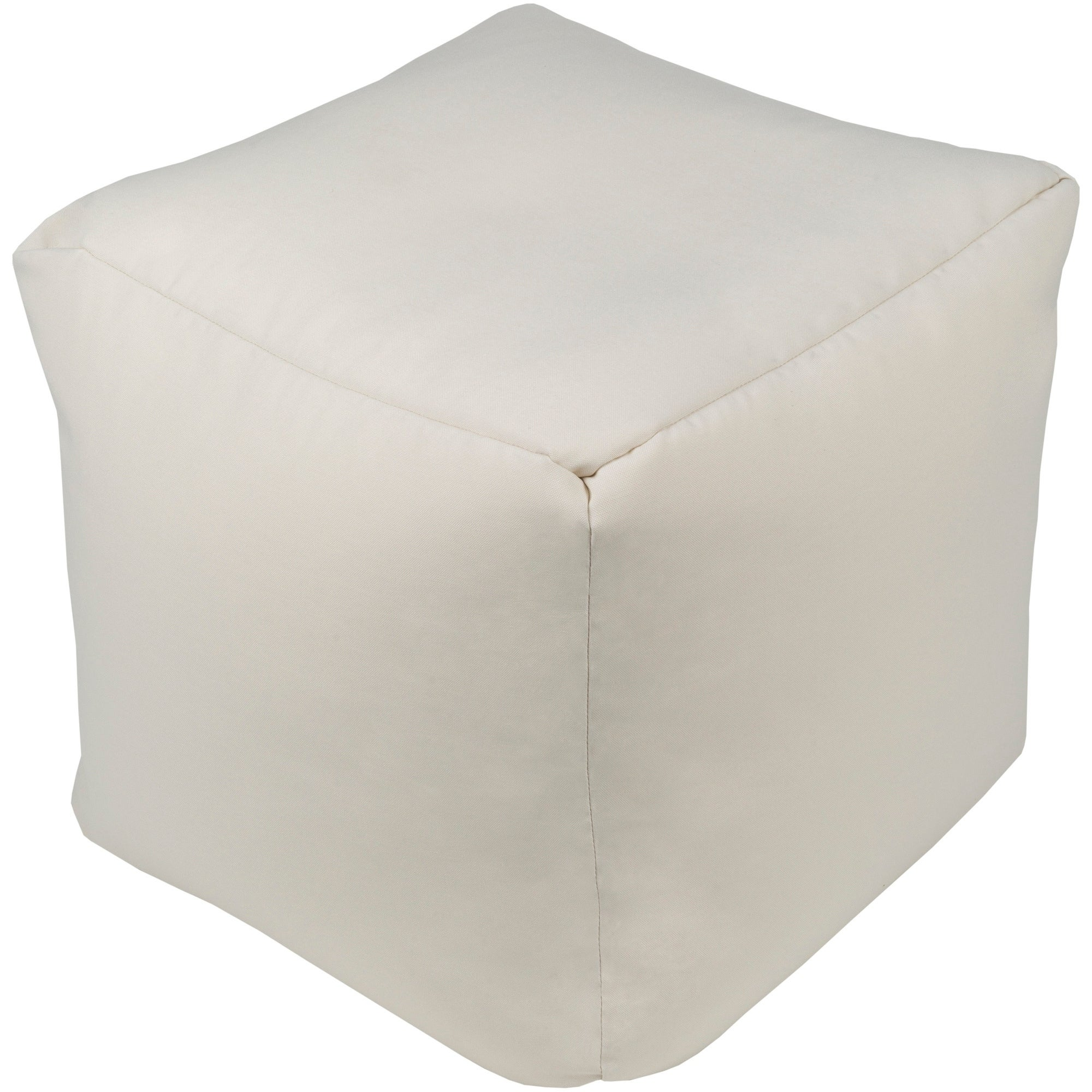 "Ferrecci Madryn Modern Solid Color Beige 18"" Pouf Off-Whi..."