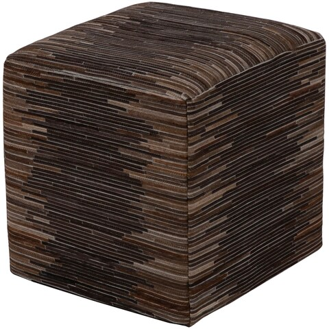 "Edelira Modern Patchwork Dark Brown 18"" Pouf"
