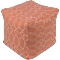 "Kazivera Transitional Geometric Bright Orange 18"" Pouf"