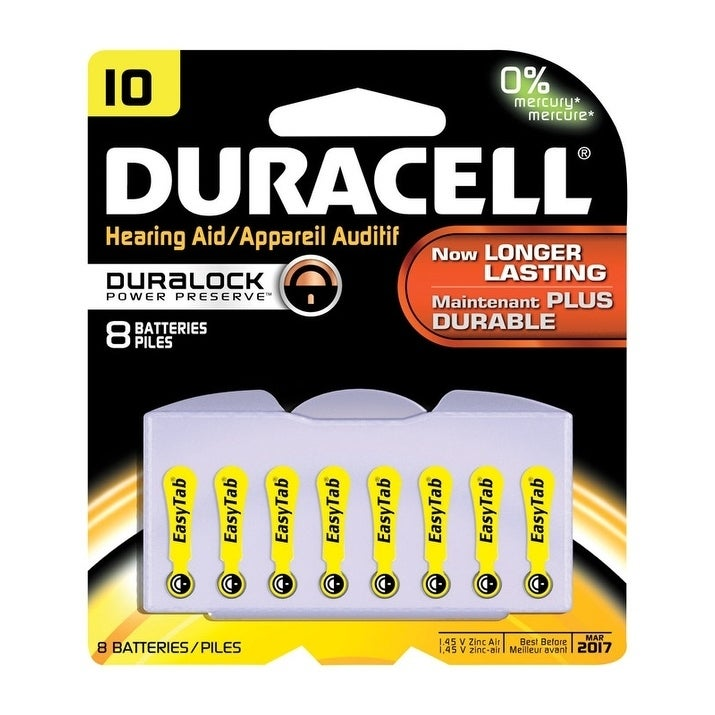 Duracell Hearing Aid Battery 10 1.4 volts 8 pk, Multi #DA...