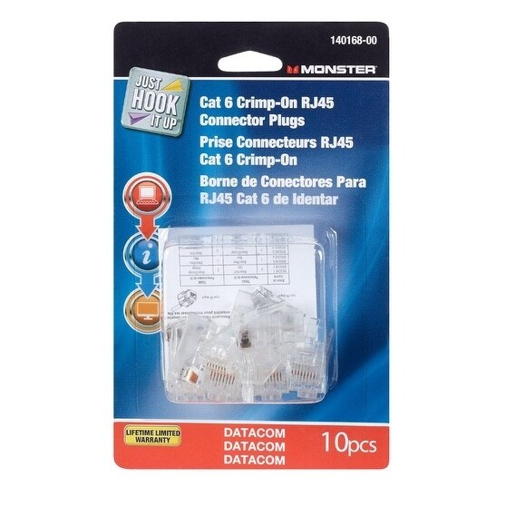Monster Cable Rj45 Connector Plugs, Clear #140168-00
