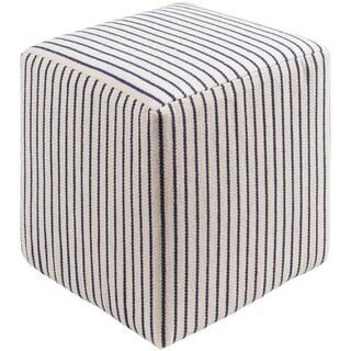 "Altavas Transitional Stripe Cream 18"" Pouf"