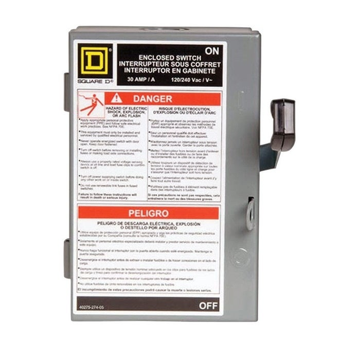 Square D Fusible/Double Pole 30 amps Fuse Safety Switch, ...