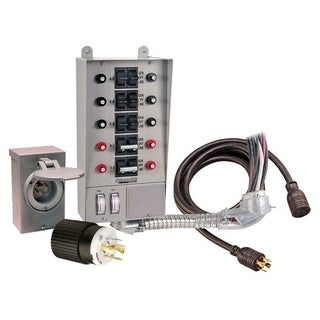 Reliance Controls 30 amps 1 space 10 circuits 250 volts Wall Double Pole, Tandem Generator Power Transfer Kit